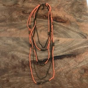 Layered coral color necklace - 5 FOR $10